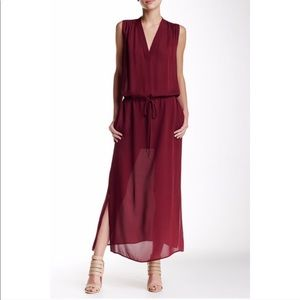 Vince. Silk Maroon Sleeveless Maxi Dress